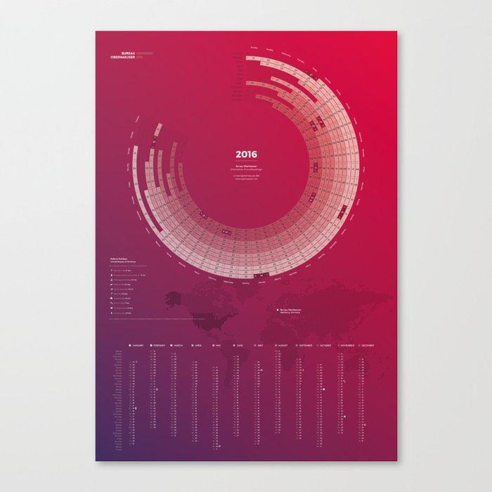 Bureau Oberhaeuser Calendar 2016 purple, english Canvas Print