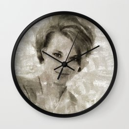 Angie Dickinson by Mary Bassett Wall Clock