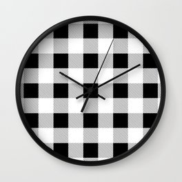 western country french farmhouse black and white plaid tartan gingham print Wall Clock