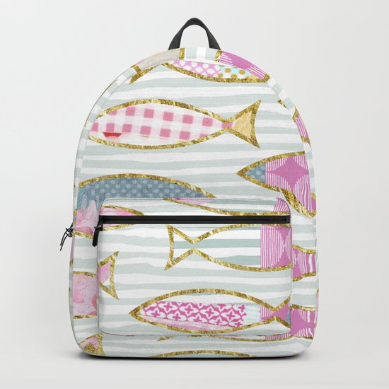 Fancy Fish pastel patchwork pattern Backpack