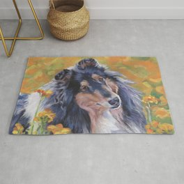 Rough Collie dog art portrait from an original painting by L.A.Shepard Rug