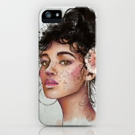 Woman's portrait with flower in her hair iPhone Case