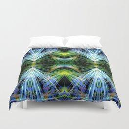 Blue Green Bright Rays,Fractal Art Duvet Cover