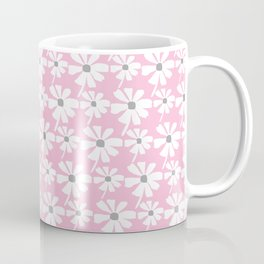 Daisies In The Summer Breeze - Pink Grey White Coffee Mug