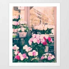 Paris flower market Art Print
