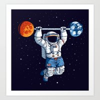 gym Art Prints featuring Space Gym  by Tobe Fonseca