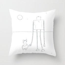 A Girl & Her Robot Throw Pillow