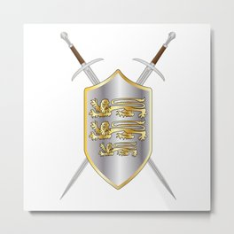 Crossed Swords and Shield Metal Print