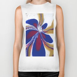 Floral Fluidity - Abstract, acrylic, fluid, painting Biker Tank