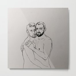 Gay Couplr Hug Metal Print