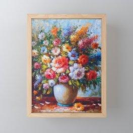 Flower Bouquet Oil Painting Framed Mini Art Print