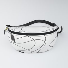 Digesting - Abstract Minimal Snake Animal Fat Black and White Fanny Pack