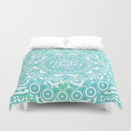Sea Green Ombre, Indian Mandala Pattern Duvet Cover