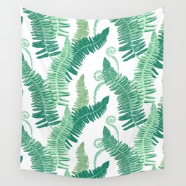 Native Ferns, Vintage Tropical Wall Tapestry