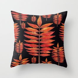 Staghorn Sumac leaves on Black Throw Pillow