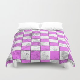 Textured Pink And White Squares Duvet Cover