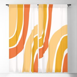 Abstract Shapes 38 in Spring Mustard Yellow and Burnt Orange Blackout Curtain