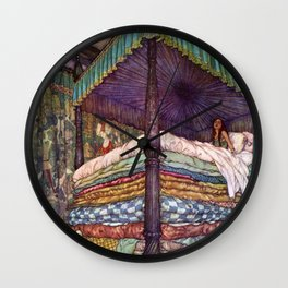 The Princess on her bed of Dreams portrait painting by Edmund Dulac Wall Clock