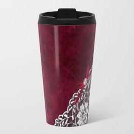 Elegant white Vintage Lace with pearl and ribbon on dark red grunge backround Travel Mug