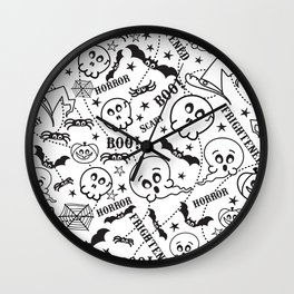 Cute horror halloween cartoon pattern Wall Clock