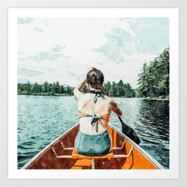 Row Your Own Boat #illustration #decor #painting Art Print