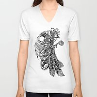 rooster V-neck T-shirts featuring Rooster by BurnBrand