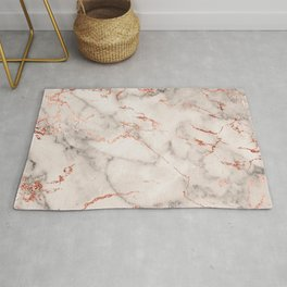Elegant abstract gray rose gold foil marble Rug