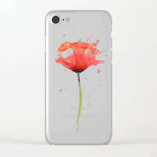 Red Poppy Watercolor | Floral Illustration Clear iPhone Case