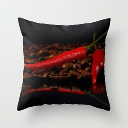 hot chili and coffee beans Throw Pillow