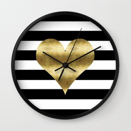 gold heart black and white stripe Wall Clock