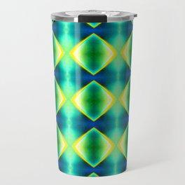 Green Yellow Geometric Metallic Diamond Pattern Travel Mug