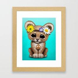 Cute Baby Lion Cub Hippie Framed Art Print