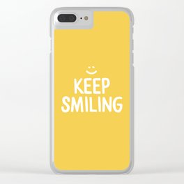 Keep Smiling Quote - Yellow Clear iPhone Case