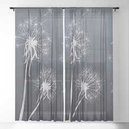 Black and White Wishing upon a Dandelion Sheer Curtain