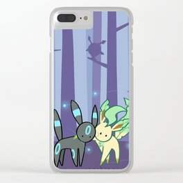 Shiny umbreon and leafeon in night forest Clear iPhone Case