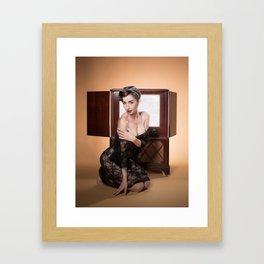 """RCA Vixen"" - The Playful Pinup - Retro TV Pin-up Girl by Maxwell H. Johnson Framed Art Print"