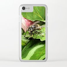 Wasp on flower16 Clear iPhone Case