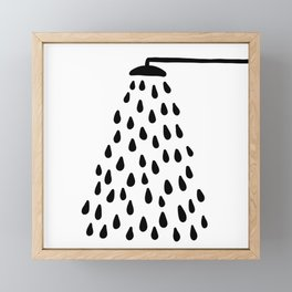 Shower drops with feucet on the right side Framed Mini Art Print