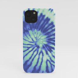 Green and Blue Tie-Dye retro 60's 70's retro pattern iPhone Case