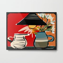 Still life with lamp and flowers Metal Print