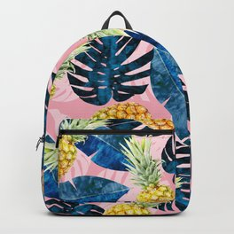 Tropical watercolor pattern with pineapples Backpack