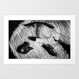 Black and white corkscrew Art Print