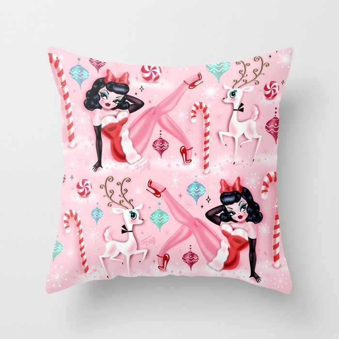 Christmas Pinup Girl with Reindeer Throw Pillow