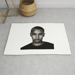 """Dominic Fike - Black and White Tri-blend"" Rug"