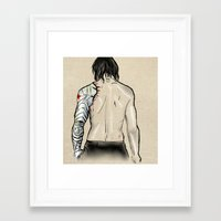 the winter soldier Framed Art Prints featuring Winter Soldier by H Person