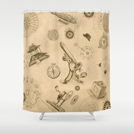 vintage Futurism Shower Curtain