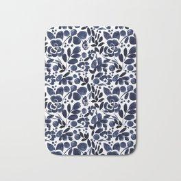 Navy Floral - medium Bath Mat