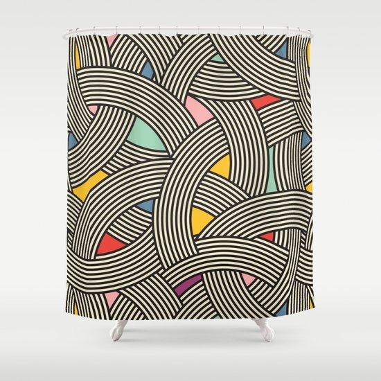 Exceptional Modern Scandinavian Multi Colour Color Curve Graphic Shower Curtain