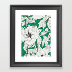 green peonies Framed Art Print
