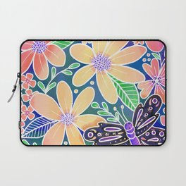 Circle of Butterflies and Flowers Laptop Sleeve
